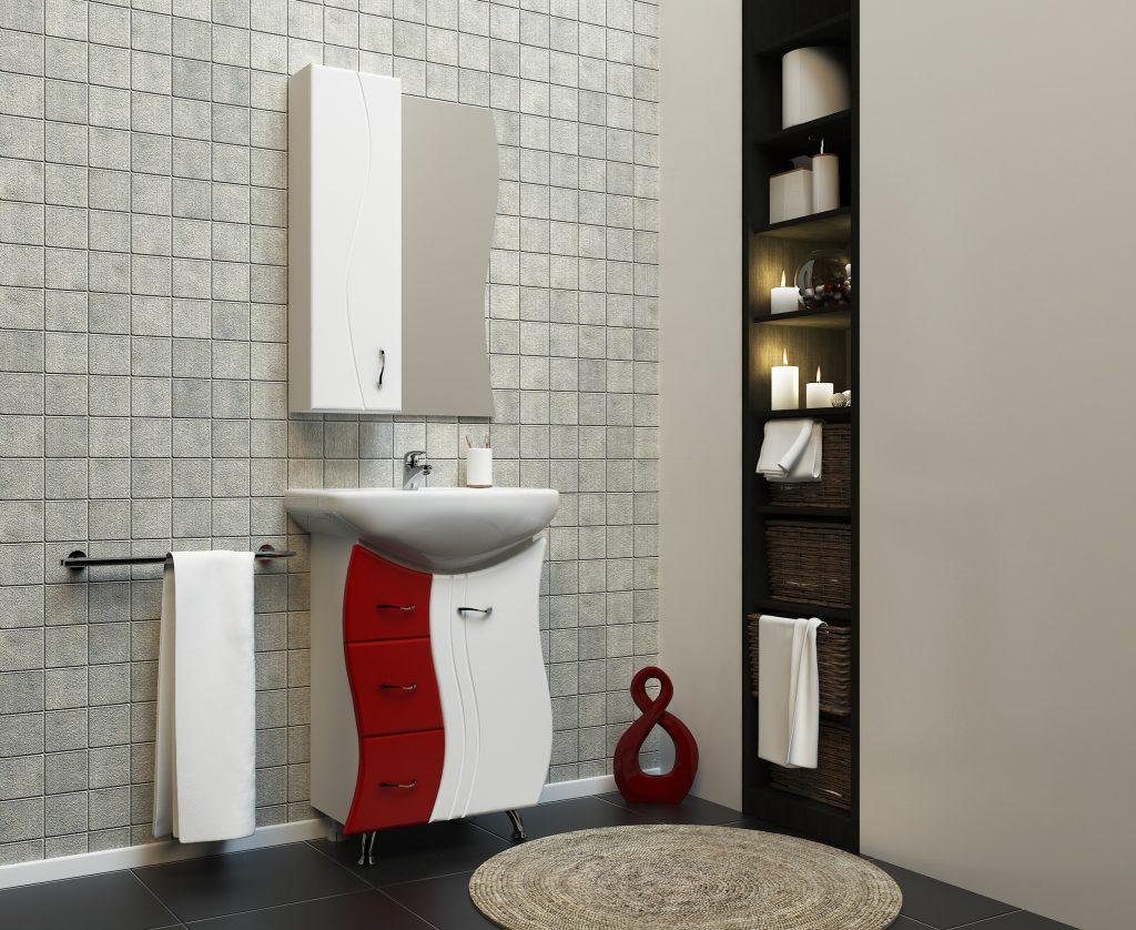 Комплект Лагуна красный, Milano, Мебель для ванных комнат
