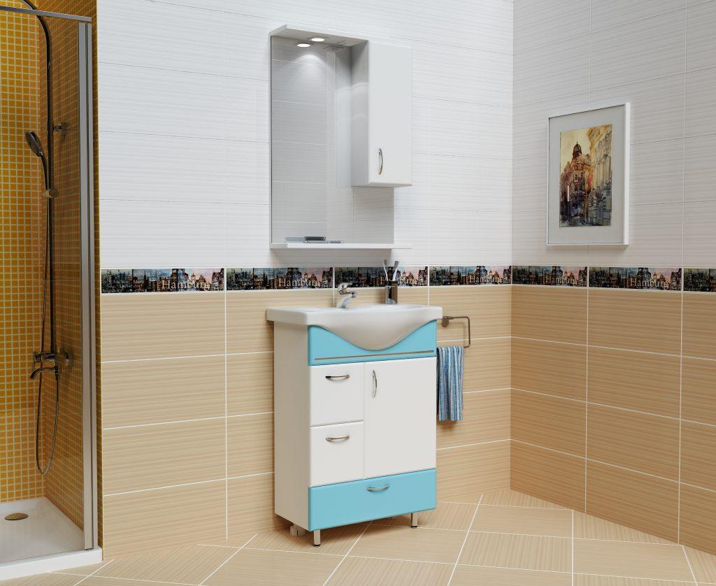 Комплект Мария Голубой, Milano, Мебель для ванных комнат