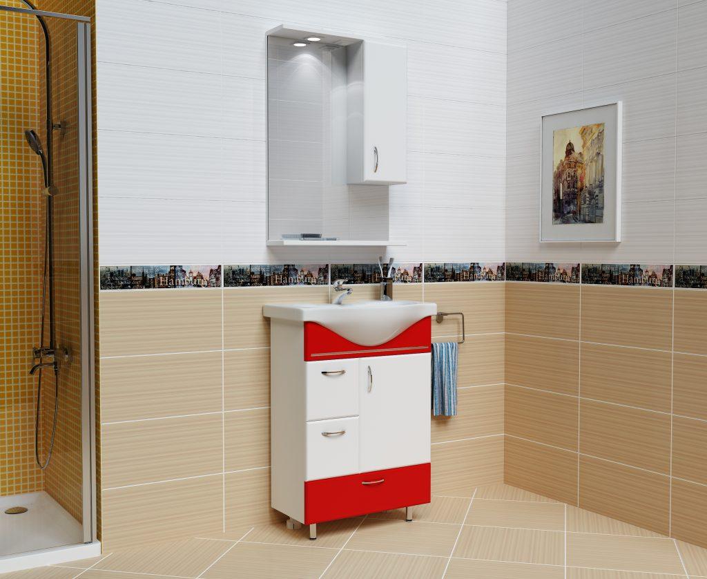Комплект Мария Красный, Milano, Мебель для ванных комнат