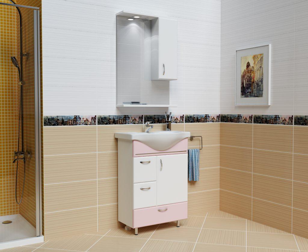 Комплект Мария Розовый, Milano, Мебель для ванных комнат