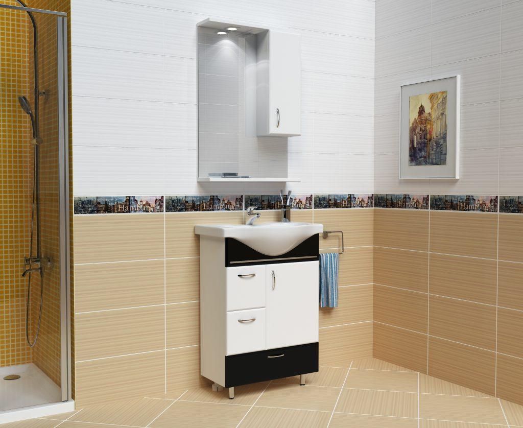 Комплект Мария Черный, Milano, Мебель для ванных комнат